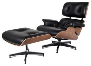 Aniline Leather Lounge Chair and Ottoman, 2 Piece Set