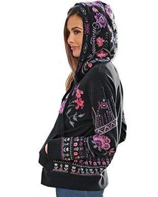 Womens Hoodies Floral Embroidered Long Sleeve Zip Up Bohemian Sweatshirt Tops Hooded Jacket