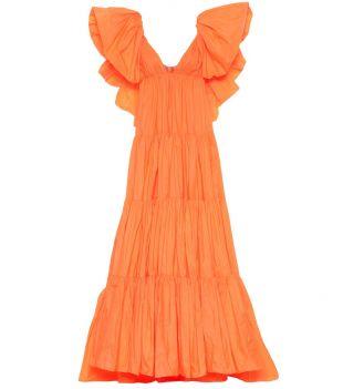 Robe longue en taffetas à volants orange fluo