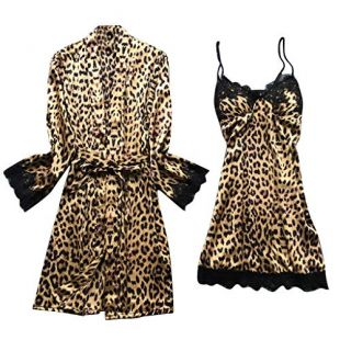 Zlolia Women Sleepwear Leopard Print Skirt Briefs Night Perspective Lingerie Underwear