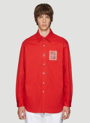 Logo Patch Overshirt in Red