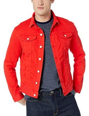 A|X Armani Exchange Men's Button Down Long-Sleeve Jacket, HIGH Risk RED, XL