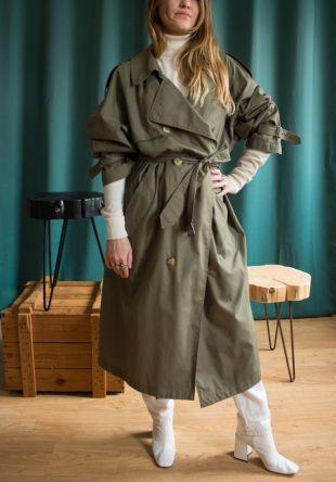 Trench vintage kaki / Trench coat oversize Burton / Imperméable vintage / Veste longue mi saison vintage unisexe