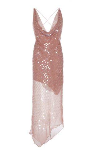 Sequined Silk-Chiffon Midi Dress