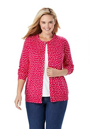 Woman Within Women's Plus Size Perfect Long Sleeve Cardigan - 2X, Crystal Berry Dot