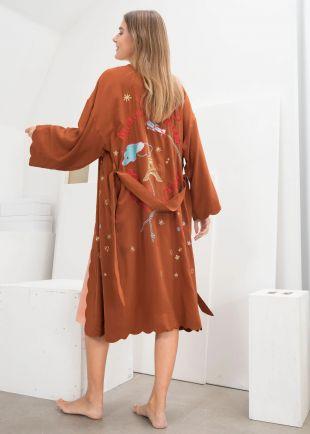 Scalloped Silk Kimono Robe