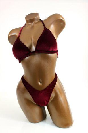 NPC IFBB Competition Bikini / Burgundy Velvet Posing Suit / Practice Posing Suit / Bodybuilding Bikini / Fast Shipping / Custom Made / Swim