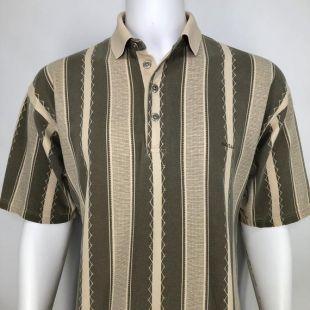 vintage 90's Guess Mens XL Polo Shirt Striped Neutrals Streetwear Rétro