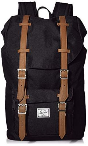 Herschel Little America Backpack with Laptop Sleeve, Black/Tan Synthetic Leather, Mid-Volume 17L