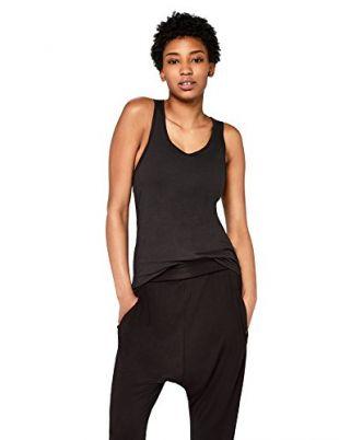 Marque Amazon - AURIQUE Débardeur de Sport Dos Nageur Femme, Noir (Black), 38, Label:S