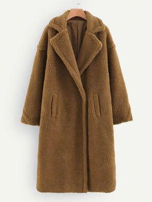 Manteau en tissu duveteux avec poches