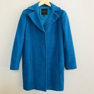 TALBOTS women's sz 2 teal blue wool blend winter coat Button Fully lined