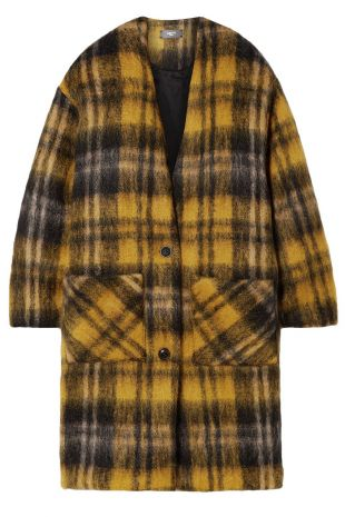 Yellow Oversized Checked Mohair-blend Coat