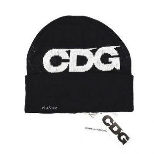CDG Black White Logo Knit Beanie Hat