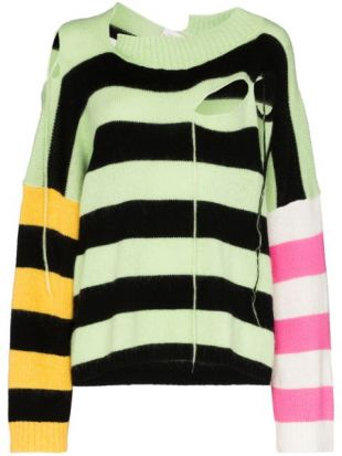 Slashed Stripe Panel Jumper