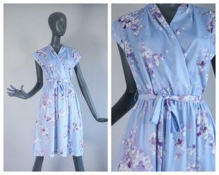 Floral Baby Blue Lavender Deep V Neck Secretary Dress Day Garden Party 70s Blouson 80s Printemps 1970s Flower Print 1980s Summer Medium Large