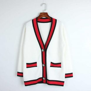 2017 Classic red black white stripes cardigan high-end pearl buckle loose V-neck knit outwear women ladies chic top cardigan