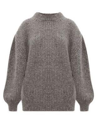 Pull oversize en laine mélangée côtelée