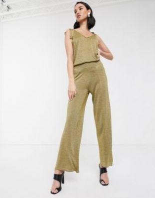 Pantalon d'ensemble métallisé
