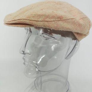 vintage Malrov Tweed Newsboy Cap Taille M? Pink Tan Flat Hat Golf Cabbie
