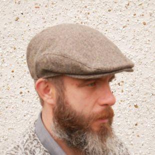 Casquette plate en tweed irlandais traditionnel - bonnet de journaliste - hareng brun/beige - 100% laine -rembourré - prêt pour l'expédition - HANDMADE IN IRELAND