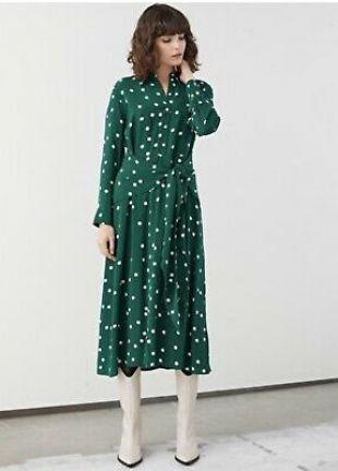 &other Stories Polka Dot Green Dress UK 8 EU 36