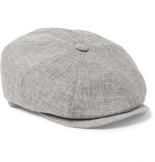 Light gray Linen, Wool and Silk-Blend Tweed Flat Cap