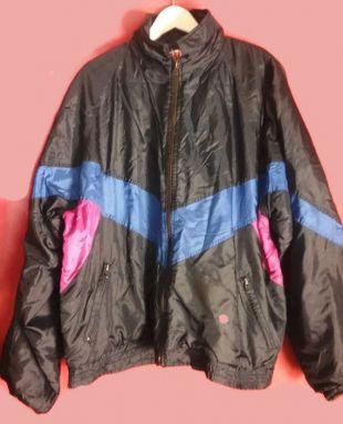 vintage 80s90s coupe-vent rave shell veste Chevron colorblock Shiny Nylon bleu rose rose rose 54 grand