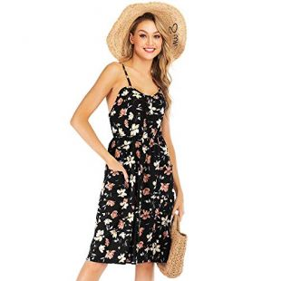 Krismile Women's Summer Sundress Strap Floral Button Down Midi Dress with Pockets Black