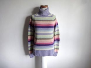 vintage 90's NEXT Striped Roll Neck Pull S 100% Lambswool Medium Knit Multi-color Pastels Rainbow Purple Pink Yellow Green Polo