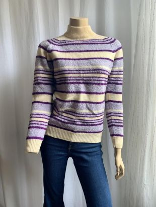 vintage 60's Boucle Knit Striped Wool Sweater Pullover Fitted Size Small