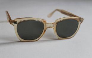 lunettes de sécurité vintage des années 1950 lunettes de soleil effacer la corne de pêche jaune bordé carré