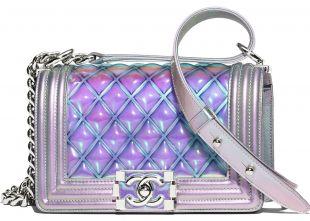 Chanel Boy Handbag Iridescent Small Purple
