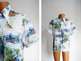 "1970s Hawaiian Cotton Shirt - 46"" Chest"