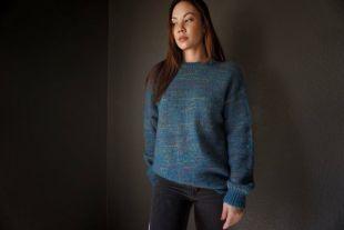 Vintage Wool et Mohair-Blend Benetton Teal Multicolore Crewneck Sweater
