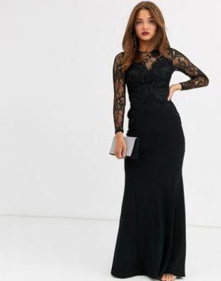 Robe longue avec top à dentelle appliquée - Noir