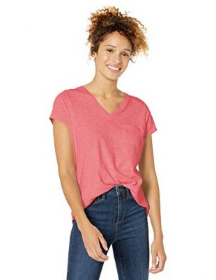 Women's Vintage Cotton Pocket V-Neck T-Shirt