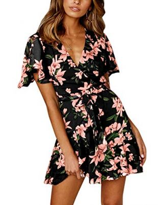 Floral Printed Wrap Short Ruffle Sleeve Mini  Dress