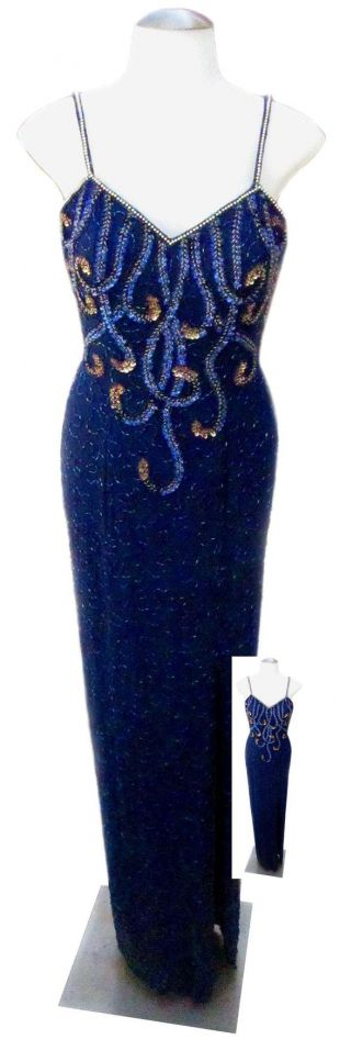 vintage Sequin Dress / Blue with Gold Designs / Silk Fabric / 1970s - Fits Small (US Sz 6)
