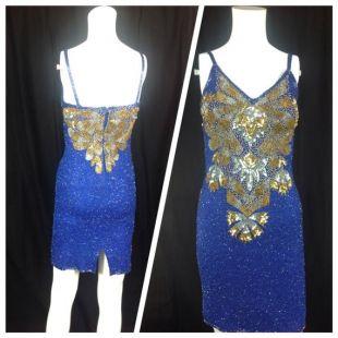 Vintage. Mini robe de soie/paillette