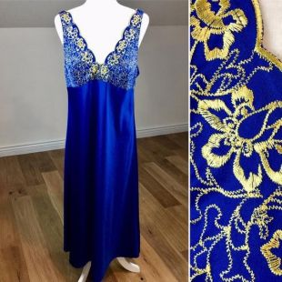 Vintage Blue Gold Brodé Slip Dress ou Sleep