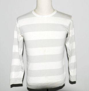 Vintage Agnès b à manches longues rayé gris Tshirt chemise blanche unisexe Tee petite taille