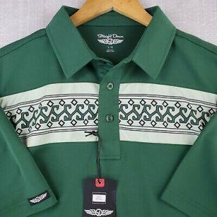 NWT STRAIGHT DOWN Size Large Mens Golf Polo Shirt Green Tribal Hawaiian Aztec     eBay