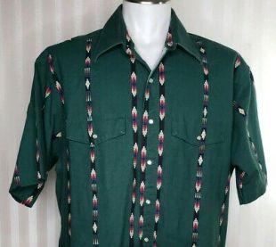 Vintage Wrangler Mens Sz XL Western Shirt Pearl Snap Green Southwest Aztec S/S  | eBay
