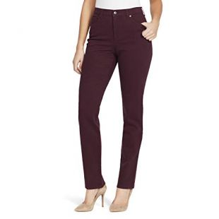 Gloria Vanderbilt Women's Plus Size Amanda Classic High Rise Tapered Jean, Plum Wine, 24W