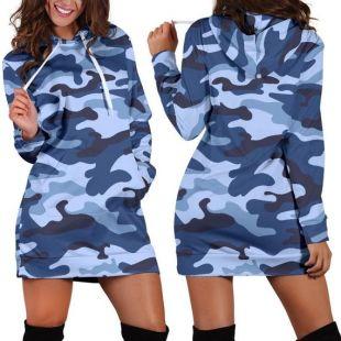 Robe à capuchon Blue Camo Camouflage Pour femmes, robe sweat-shirt à capuchon, Sweatshirt hoodie Dress, Robe à capuchon