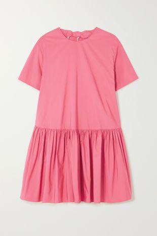Rose Mini-robe en popeline de coton mélangé