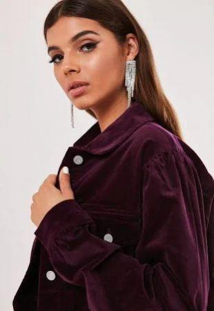Veste violette courte en velours