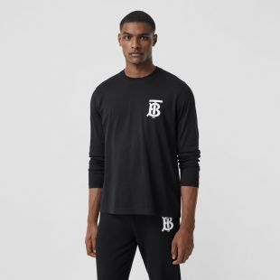 Long-sleeve Monogram Motif Cotton Top in Black - Men | Burberry