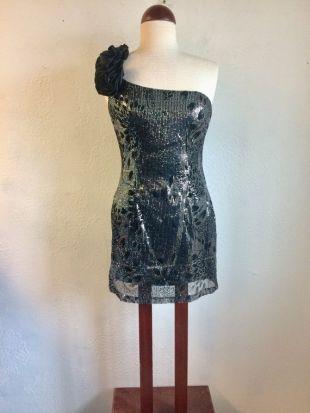 corps con mini robe, tissu réfléchissant